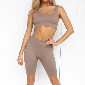 2pcs/set Yoga Sets Women Seamless Shorts High