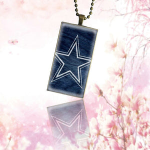 For Women Kids Glass Cabochon Jewelry Bronze Color With Long Pendant Choker Rectangle Necklace Dallas Cowboys Glitter