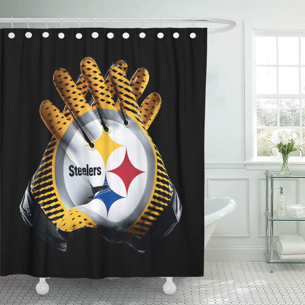 Waterproof Shower Curtain Curtains Set with Hooks Steeler Nation Football Team Sports Receiver Gloves 72 X 78 Inches