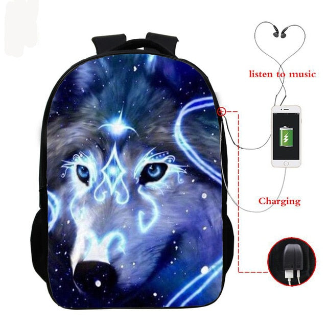 Wolf 3d Printed Backpack Boys Girls School Bag Teenager Usb Cable