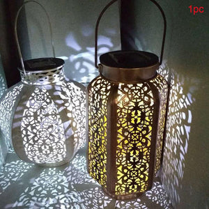 Retro Garden Solar Lamp Hollowed Out maple leaf Shadow Lantern Hanging Hollow Lamp Outdoor