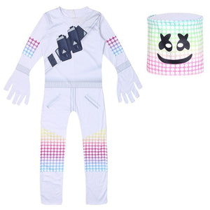 2020 Kids Popular DJ Music Marshmelloed Cosplay Halloween Costume with Mask Boy Girls Jumpsuit Bodysuit Carnival Party Clothing
