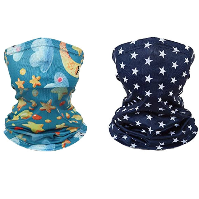2PC Kids Print Outdoor Bandana Face Mask