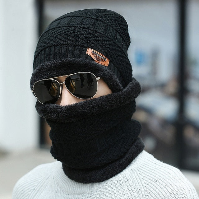 Winter hat Peas man scarf set plus velvet thick men's face caps hood woman outdoor ear protection neck warm scarf knitted hat