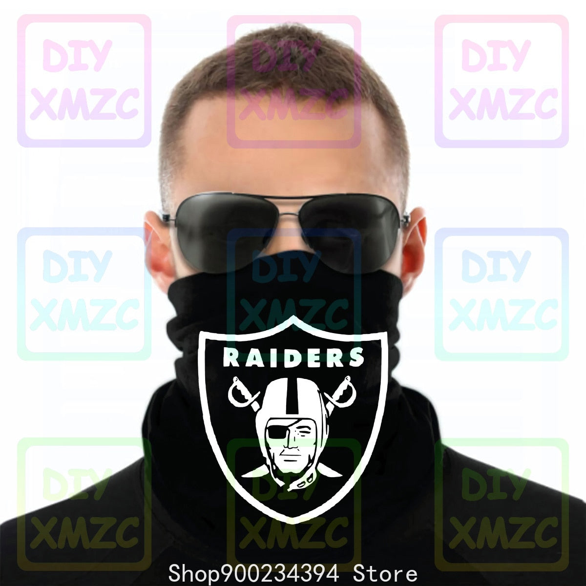 Oakland Los Angeles Raiders Las Vegas Black Bandana White Graphic Cotton