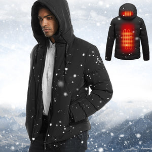 Hot! New 2020 Winter Men Heated Jacket USB Charging Electric Hoodie Warm Thermal Heating Rechargeable Thick Outwear Outdoor Coat
