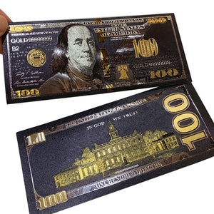 Antique Black Gold Foil USD 100 Currency Commemorative Dollars Banknotes Decor