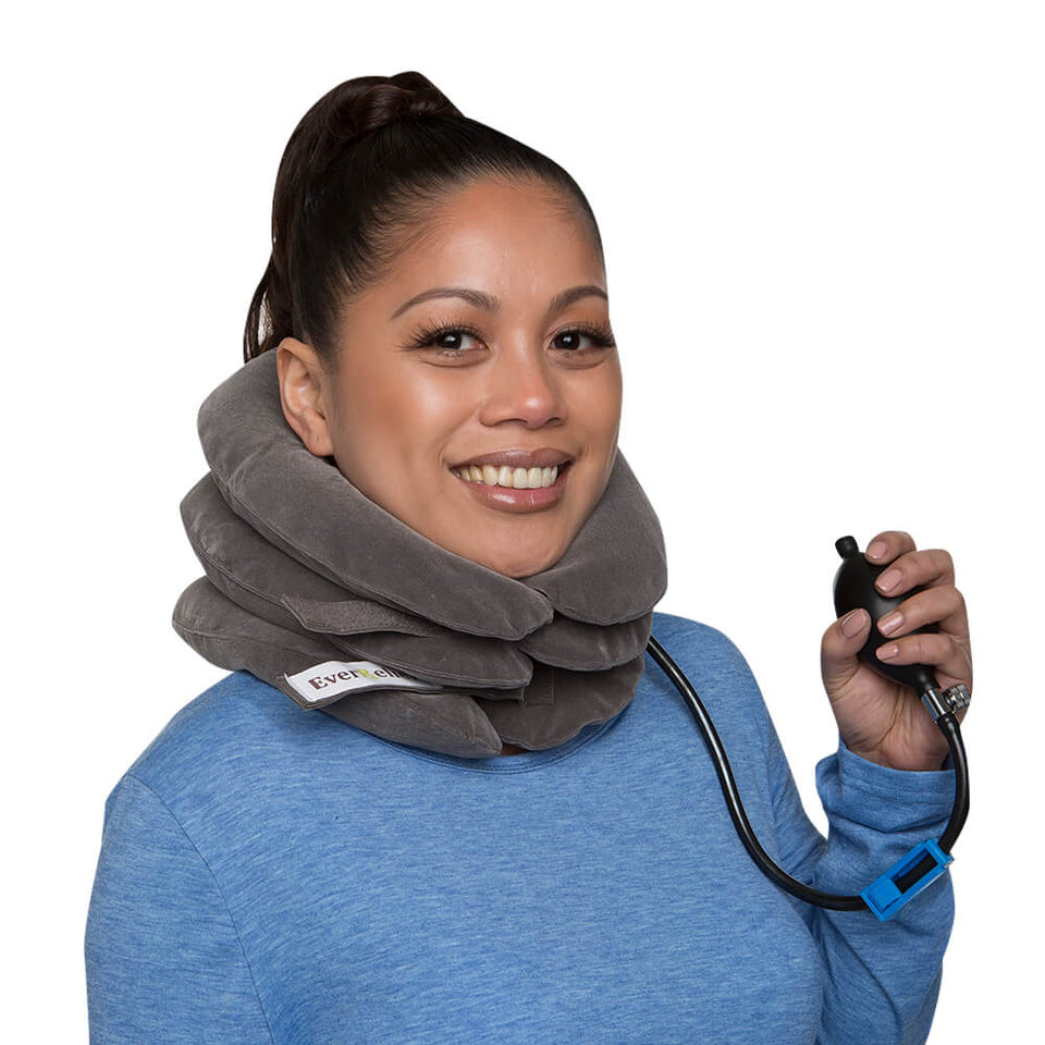 EverRelief Cervical Neck Traction for neck decompression traction device for home therapy may help relieve pinched nerves, soreness, cervical neck spasms, herniated discs and tension. Device