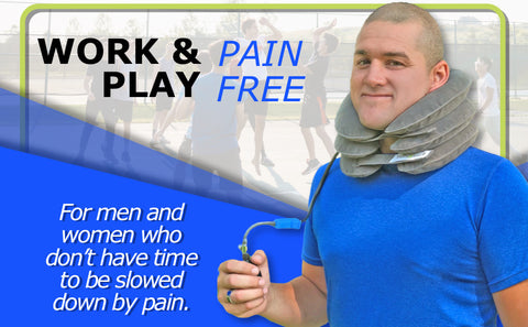A man with pain in his neck, back, or shoulder, pinched nerves, soreness, cervical neck spasms, herniated discs and tension in need of neck decompression traction device for at home pain therapy.