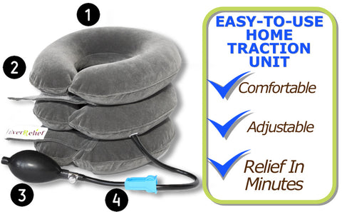 EverRelief Neck Traction device to relieve pain in neck, back, or shoulder, pinched nerves, soreness, cervical neck spasms, herniated discs and tension in need of neck decompression traction device for at home pain therapy.