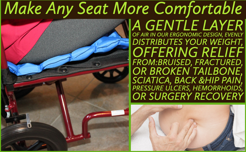 Ergonomically designed air inflatable seat cushion that evenly distributes your weight to provide comfort from pressure point pain can be used while driving, on a plane or train, in a wheelchair, in bed, at the kitchen or dining table and at your computer desk in your home or office.
