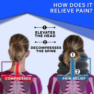 A woman with pain in her neck, back, or shoulder, pinched nerves, soreness, cervical neck spasms, herniated discs and tension in need of neck decompression traction device for at home pain therapy.