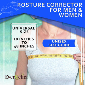 A women using a posture corrector because of fatigue, collarbone, neck back or shoulder pain needing to prevent slouching and hunching