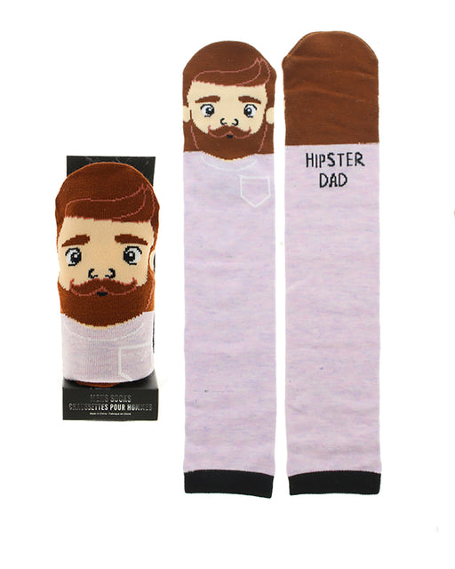 Men's Character Casual Crew Socks w/ Gift Box - Hipster Dad