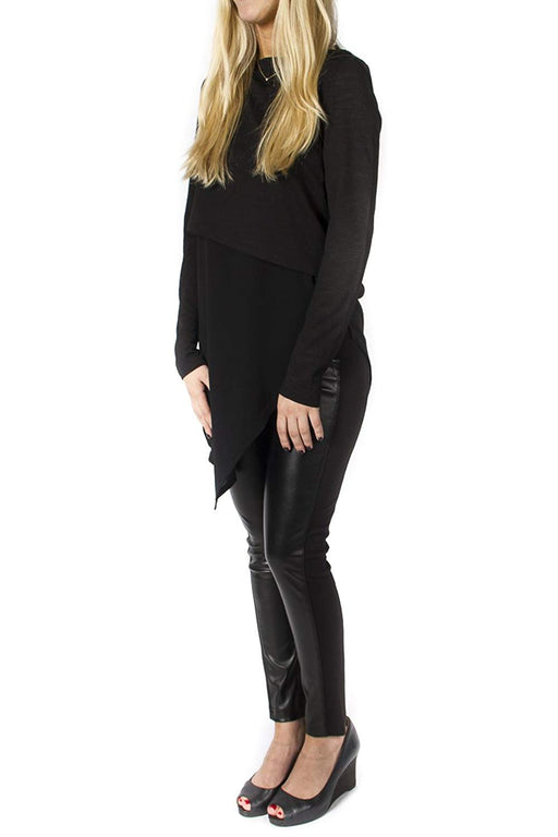 Women's Black Faux Leather Pant