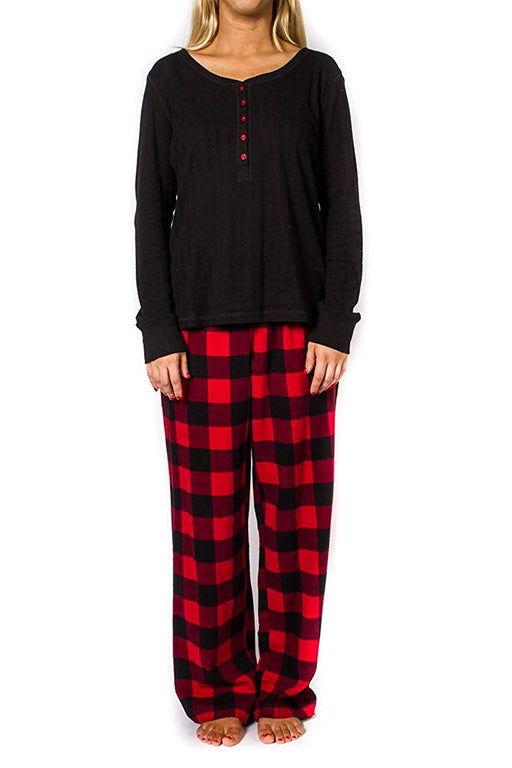 Women's 2pc Long Sleeve Pajama Set - Black