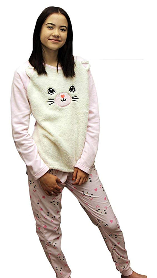 LADIES Dots And Dreams Character Twosies 2pc Pajama Set Pink Bunny