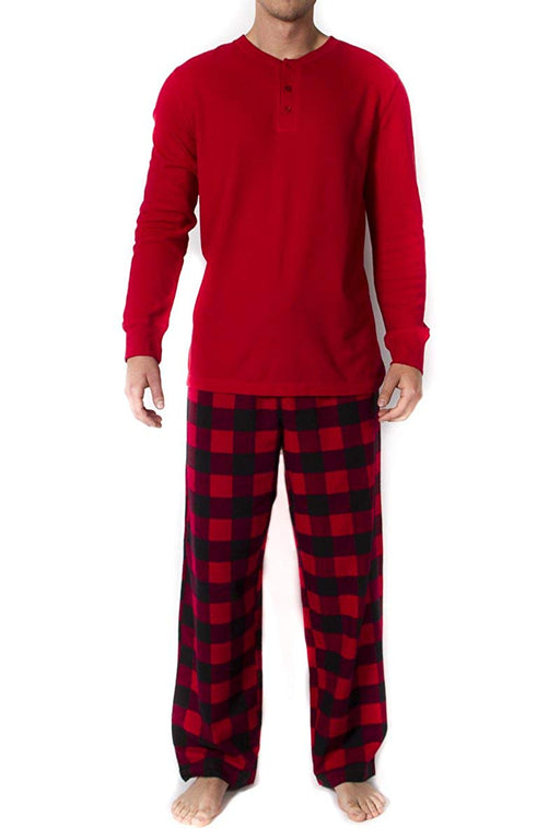 Mens 2pc Long Sleeve Pajama Set - Red
