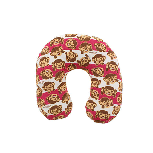 emoji Kids Neck Support Monkey Face Travel Pillow (Red)