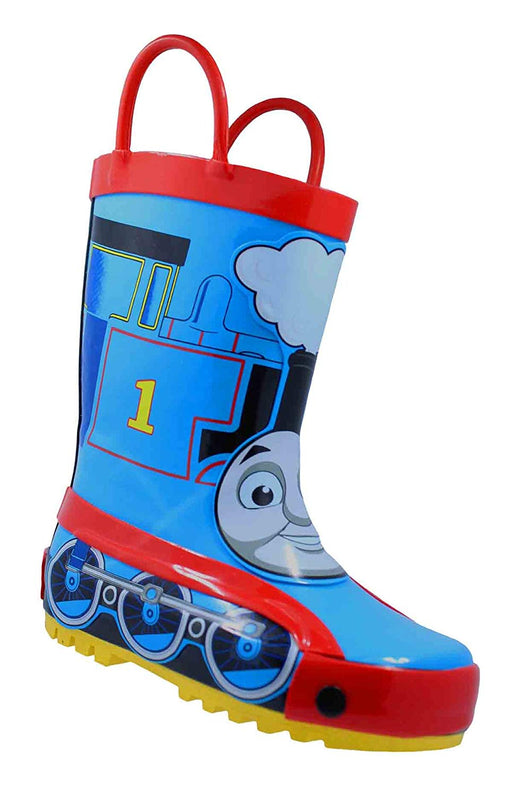 Thomas The Tank Engine Children's Rubber Character Rain Boots with Easy-On Handles Simple for Little Kids/Toddler Boys