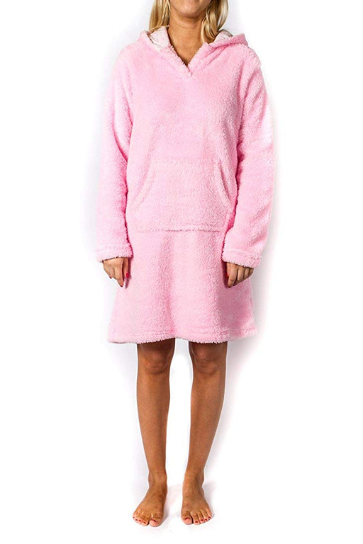 Jammers Women's Plush Hooded Tunic Sleep Shirt - Pink