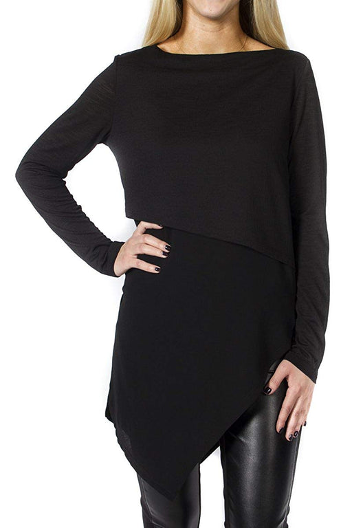 Jules and Leopold Women's Black Asymmetrical Knit Top
