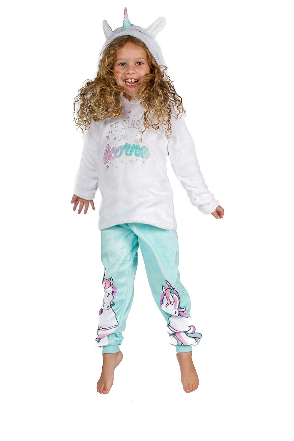 Peace Love & Dreams Girls Unicorn Fleece Hoodie & Pajama Pant Set