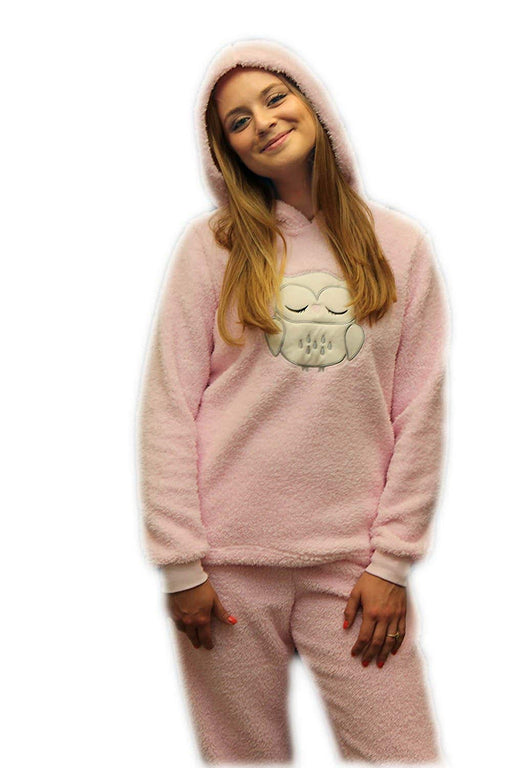 Ladies Dots and Dreams Character Twosies 2pc Pajama Set Pink Owl