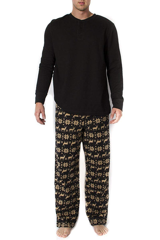 Mens 2pc Long Sleeve Pajama Set - Black