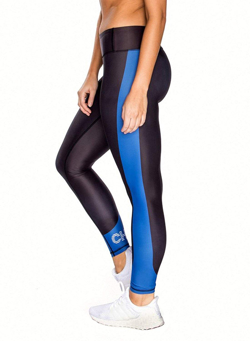CHRLDR Women's Striped Logo Legging (Black/Blue) - Small
