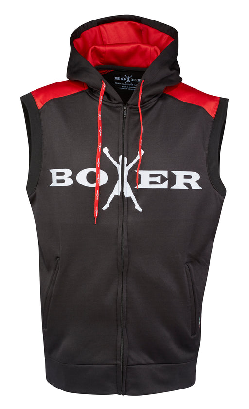 Boxer Sleeveless Power Hoodie - Red and Black