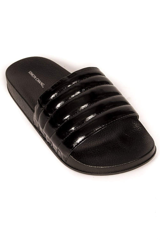 Simon Chang Women's Slip-On Comfort Slide Sandals Bling Flat Slippers - Black