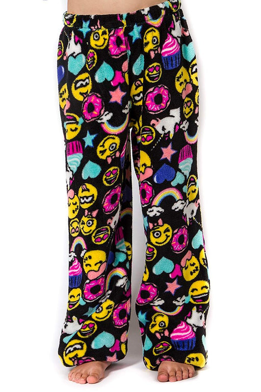 Girl's Peace Love & Fashion Emoji Pajama Pants - Black