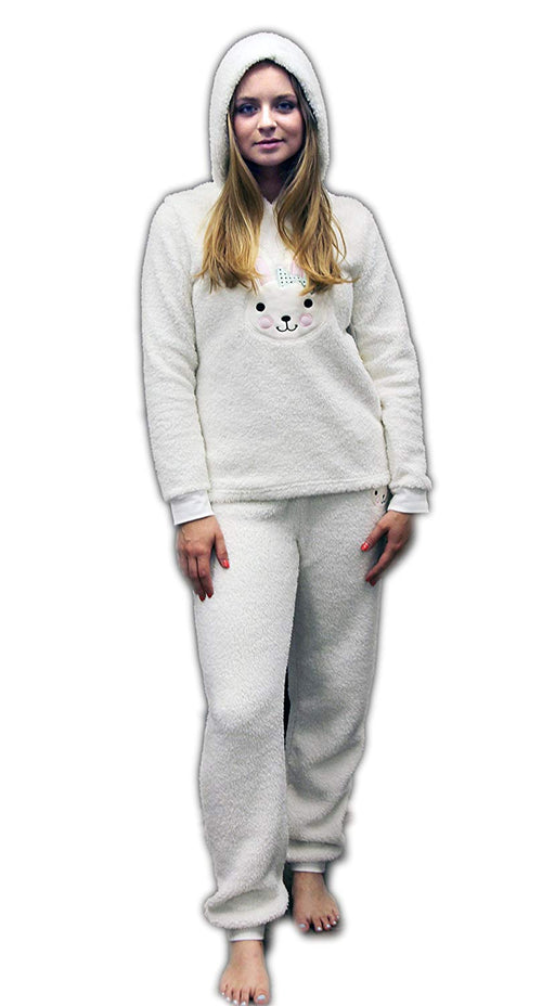 LADIES Dots And Dreams Character Twosies 2pc Pajama Set White Bunny