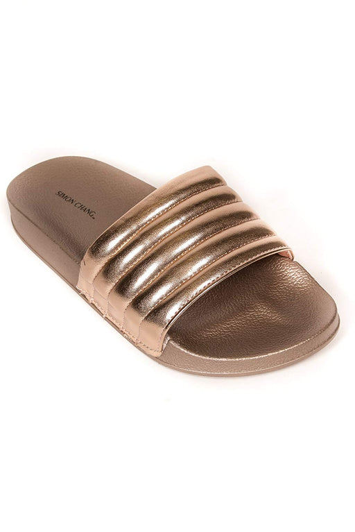 Simon Chang Women's Slip-On Comfort Slide Sandals Bling Flat Slippers - Rose Gold