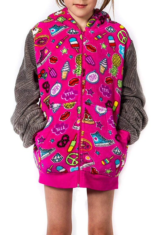 Girl's Peace Love & Fashion Emoji Hoodie - Pink