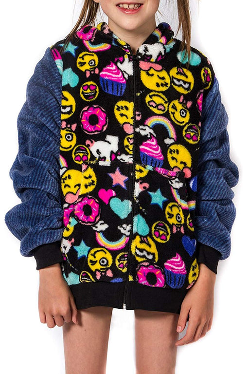 Girl's Peace Love & Fashion Emoji Hoodie - Black/Smiley