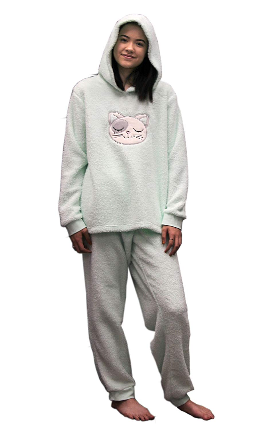 LADIES Dots And Dreams Character Twosies 2pc Pajama Set Green Cat