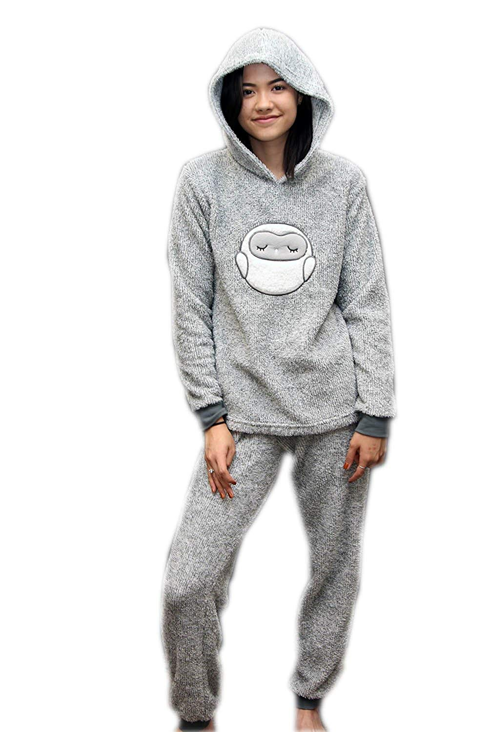 Ladies Dots and Dreams Character Twosies 2pc Pajama Set Grey Owl