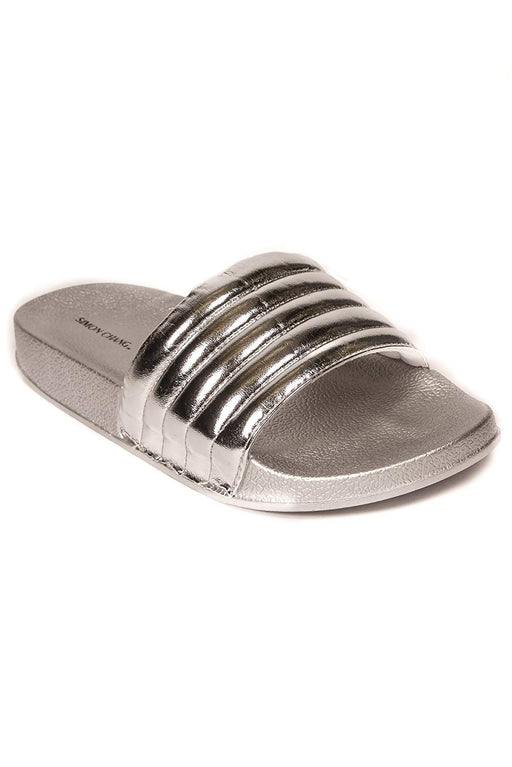 Simon Chang Women's Slip-On Comfort Slide Sandals Bling Flat Slippers - Silver