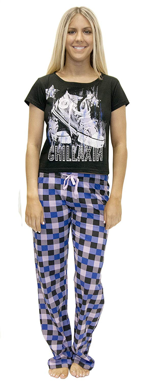 Candy Couture Women's Short Sleeve Long Pajama Pants PJs Printed Two Piece Sleepwear Set