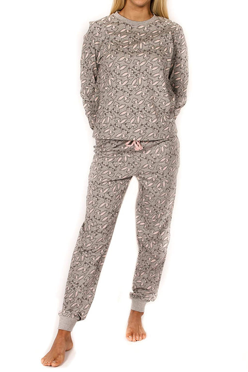 Peace Love & Fashion Women's 2PC Long-Sleeve Pajama Set - Grey Bunny