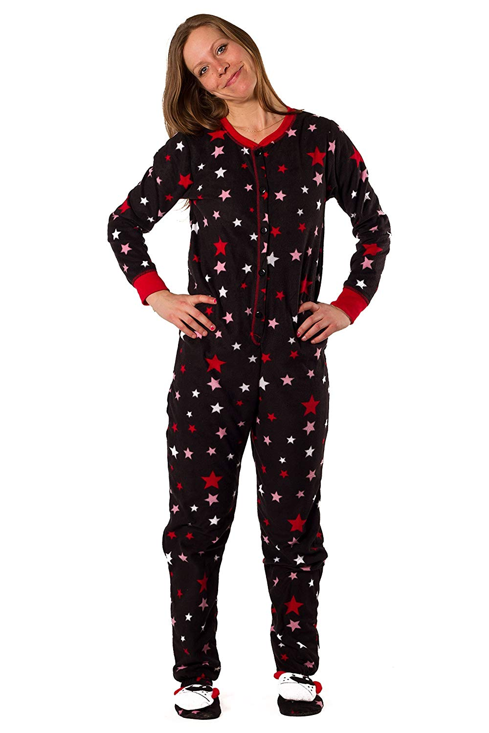 Dots & Dreams Women's Red and Pink Star Onesie With Feet - Size XS