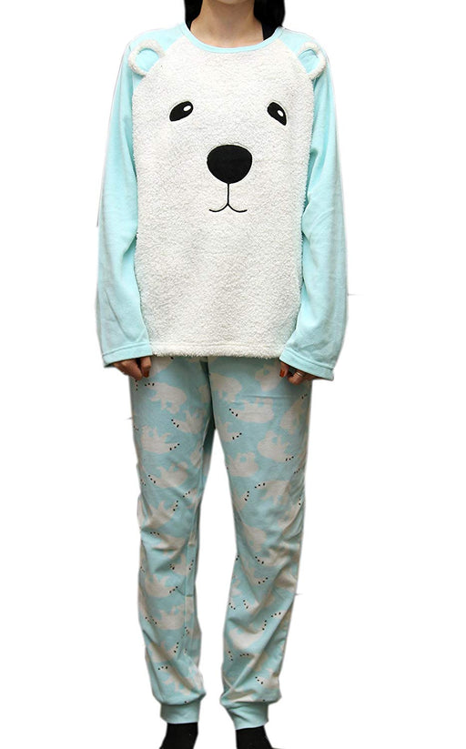 LADIES Dots And Dreams Character Twosies 2pc Pajama Set Green Bear