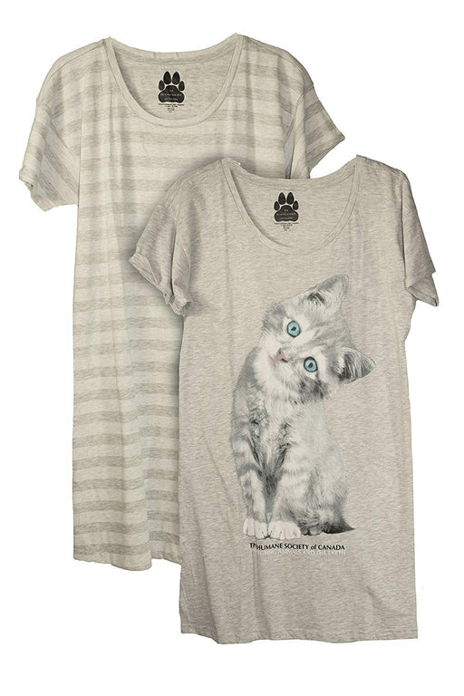 Humane Society Womens 2 Pack Cotton Nightshirt Pajamas Shirt Nightgown - Grey/Stripe