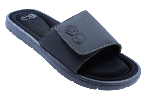 Men's Grey and Black Memory Foam Slide Sandals