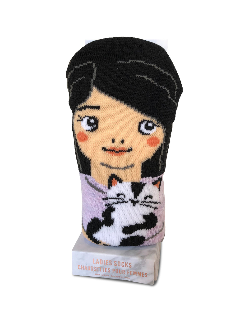 Women's Character Cat Mom Casual Crew Socks w/ Gift Box (Purple)