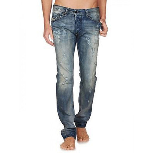 Men's Diesel Darron 0818Y Regular-Slim Fit Distressed Tapered Denim Jeans - SURPLUS CLOTHING  - 1