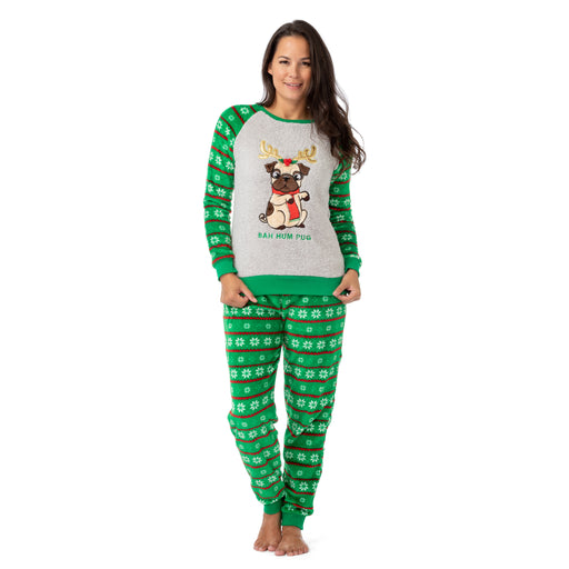 Long Sleeve Christmas Dog Fleece Pajama Set