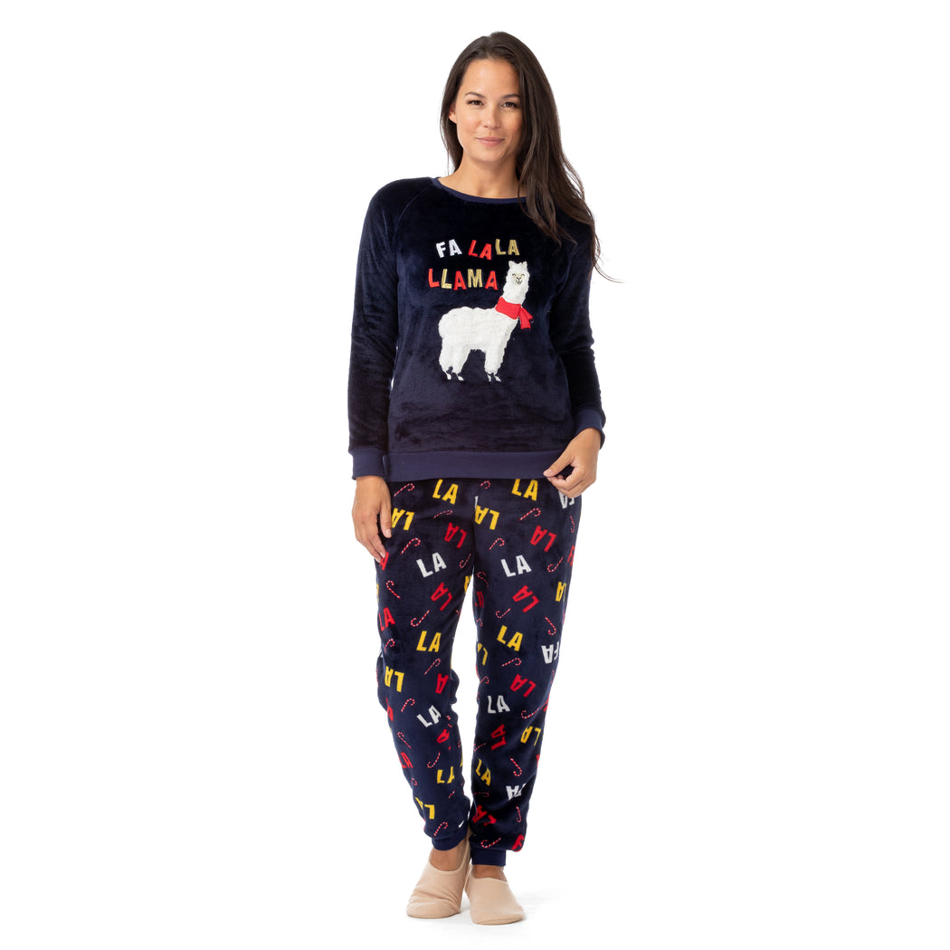 Long Sleeve Christmas Llama Fleece Pajama Set